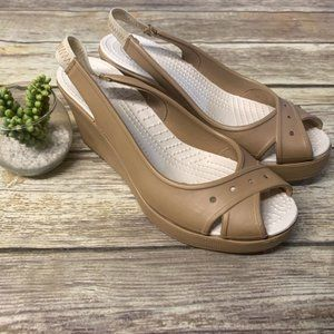 CROCS Tan Beige Rubber Peep Toe Wedge Sandals